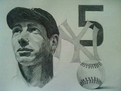 Joe Di Maggio Drawing - Joe Di Maggio by Chris Lambert