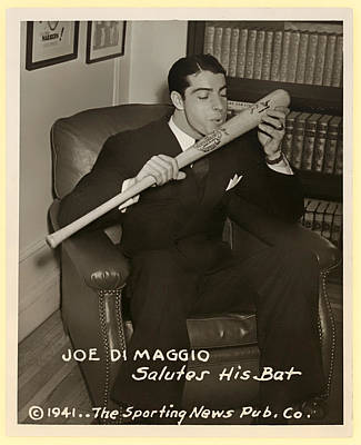 Joe Dimaggio And His Bat Art Print by Mountain Dreams