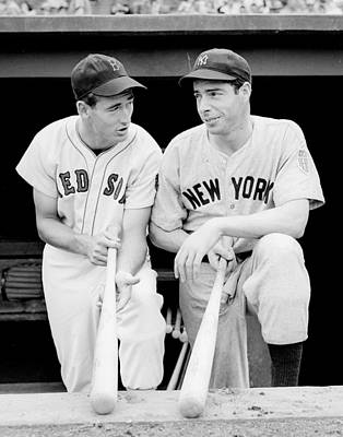 Black And White Photograph - Joe Dimaggio And Ted Williams by Gianfranco Weiss