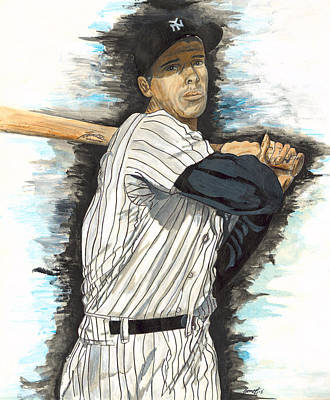 Yankee Stadium Painting - Joe Dimaggio by Jeff Gomez