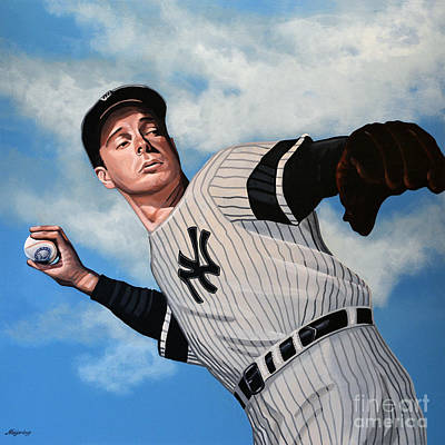 Yankee Stadium Painting - Joe Dimaggio by Paul Meijering