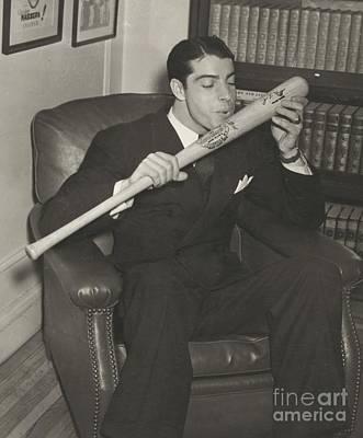 Yankee Legend Joe Dimaggio Photograph - Joe Dimaggio Salutes His Bat by Pg Reproductions