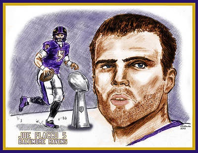 Drawing - Joe Flacco by Chris  DelVecchio