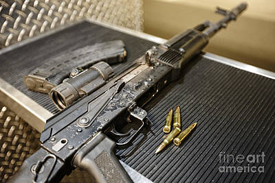 Russian Icon Photograph - Joe Fox Fine Art - Ak47 Assault Rifle Magazine And Ammunition At A Gun Range by Joe Fox