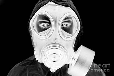Black And White Bondage Photograph - Joe Fox Fine Art - Black And White Negative Representation Of Woman Wearing Gas Mask And Protective Clothing by Joe Fox