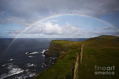 Good Luck Photograph - Joe Fox Fine Art - Large Rainbow In The Rain On The North Coast Of Ireland by Joe Fox
