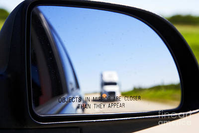 Joe Fox Fine Art - Objects In Mirror Are Closer Than They Appear With Following Semi Truck On Canadian Highway Art Print