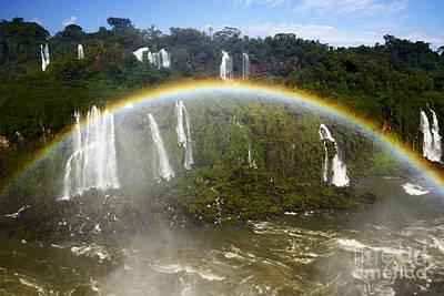 Full Rainbow Photograph - Joe Fox Fine Art - Rainbow Over The River At Iguacu National Park Parana Brazil by Joe Fox