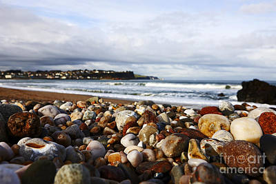 Joe Fox Fine Art - Stones And Rocks Worn Smooth By Wave Action On A Shingle Beach Ballycastle Northern Ireland Art Print by Joe Fox