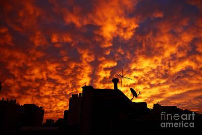 Joe Fox Fine Art - Sunset Reflecting Off Stratocumulus Cloud Deck Over The City Of Santiago Chile Art Print by Joe Fox