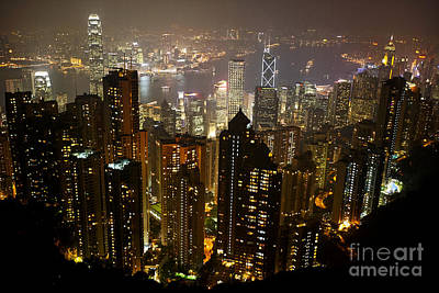 Joe Fox Fine Art - View Over Hong Kong City At Night From The Pe Art Print by Joe Fox