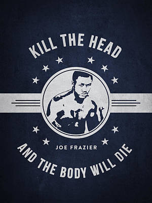 Joe Frazier - Navy Blue Art Print