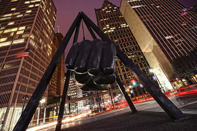 Photograph - Joe Louis Fist Statue Detroit Michigan Night Time Shot by Gordon Dean II