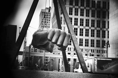 Photograph - Joe Louis Fist Statue In Monochrome by Gordon Dean II