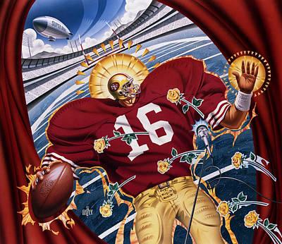 Sports Paintings - Joe Montana and The San Francisco Giants by Garth Glazier