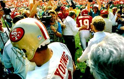 Sports Photograph - Joe Montana Meets Steve Young by Retro Images Archive
