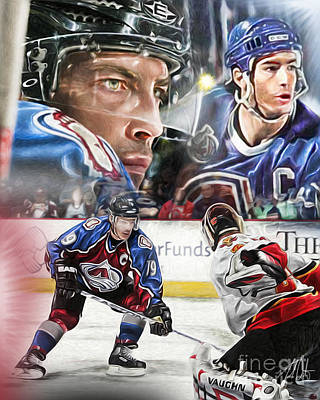 Colorado Avalanche Painting - Joe Sakic Collage by Mike Oulton