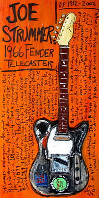 Guitar God Painting - Joe Strummer's 1966 Telecaster by Karl Haglund