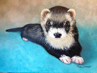 Ferret Painting - Joey by Terri Clements