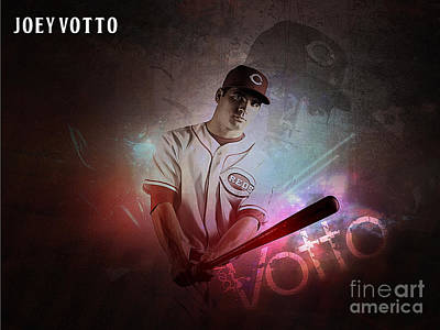 Baseball Mixed Media - Joey Votto by Marvin Blaine