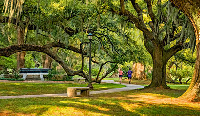 Walkway Digital Art - Jogging In City Park by Steve Harrington