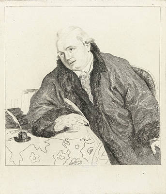 Self-portrait Drawing - Johan Antoni Kauclitz Colizzi Sitting At Table With A Quill by Louis Bernard Coclers