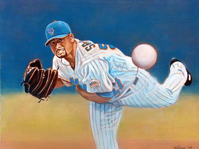 No Hitter Painting - Johan Santana by John Kennedy Wilson