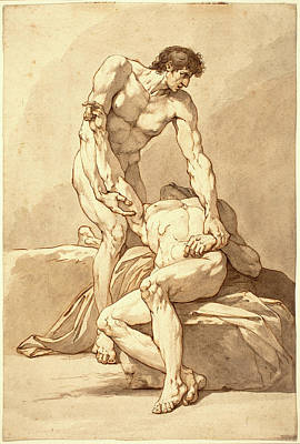 Brown Swiss Drawing - Johann Heinrich Lips, Swiss 1758-1817, Two Naked Men by Litz Collection