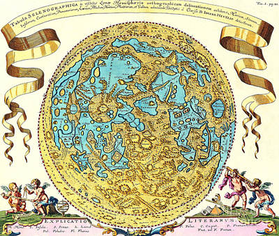 Heavenly Body Photograph - Johannes Hevelius Moon Map 1647 by Science Source