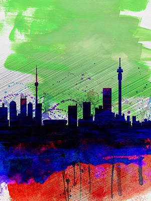 African Landscape Painting - Johannesburg Watercolor Skyline by Naxart Studio