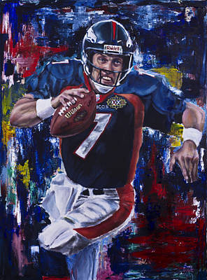 Mixed-media Painting - John Elway by Mark Courage
