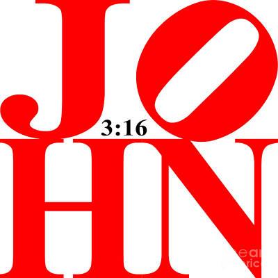 John 3 16 20130708 Red White Black Art Print