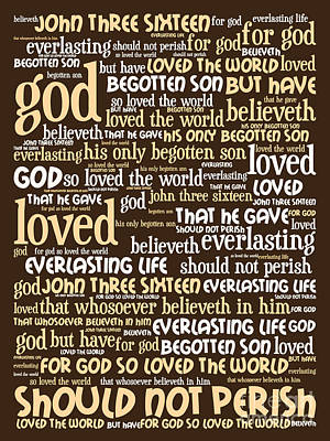 John 3-16 For God So Loved The World 20130622bwwa95 Vertical Art Print by Wingsdomain Art and Photography