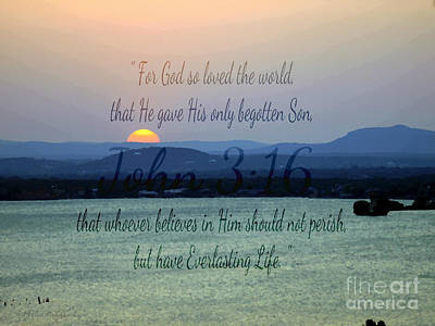 John 3 16 Lake Sunset Art Print