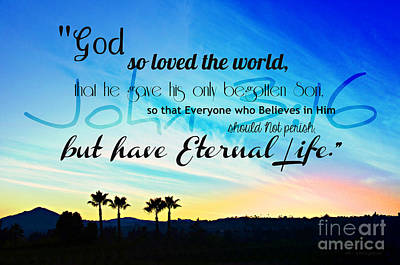 John 3 16 With Palm Trees  Art Print by Sharon Soberon