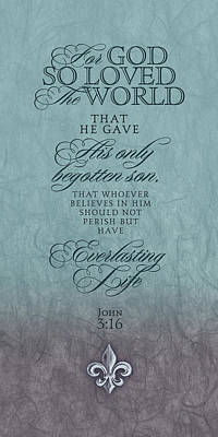 Bible Verse Painting - John 3:16 by Tammy Apple
