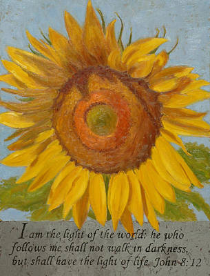 Light Of The World Painting - John 8 12 by Joan Breckwoldt