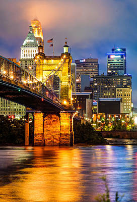 Photograph - John A. Roebling Bridge - Cincinnati Ohio by Gregory Ballos