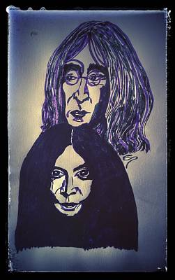 Drawing - John And Yoko Faces by Edward Pebworth