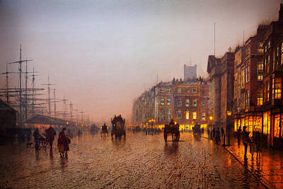 Grimshaw Painting - John Atkinson Grimshaw Liverpool From Wapping 1885 by MotionAge Designs