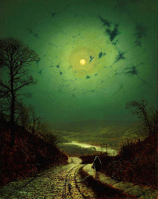 Moon Painting - John Atkinson Grimshaw Moonlight Wharfedale 1871 by MotionAge Designs