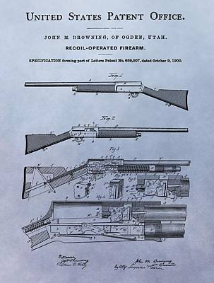 Drawing - John Browning Firearm Patent by Dan Sproul