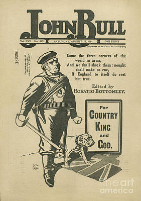 Nineteen-tens Drawing - John Bull 1914 1910s Uk Patriotism by The Advertising Archives