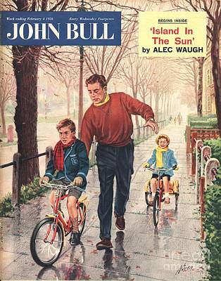 Bike Drawing - John Bull 1950s Uk  Learning To Ride by The Advertising Archives