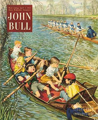 Nineteen-fifties Drawing - John Bull 1950s Uk Rowing Training by The Advertising Archives