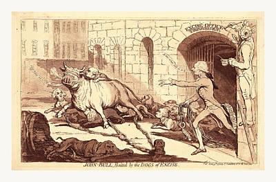 John Bull, Baited By The Dogs Of Excise, En Sanguine Art Print by English School