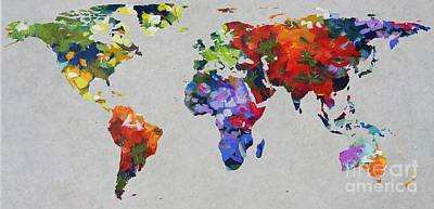 Geography Digital Art - John Clark 4  World Map by John Clark