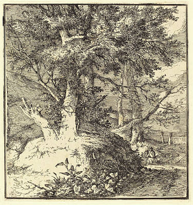Applique Drawing - John Crome, British 1768-1821, Tree On A Mound by Litz Collection