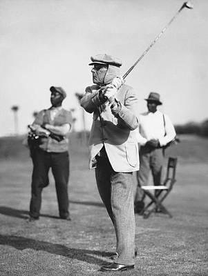 John D. Rockefeller Golfing Art Print by Underwood Archives
