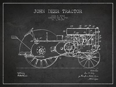 Farming Digital Art - John Deer Tractor Patent Drawing From 1930 - Dark by Aged Pixel